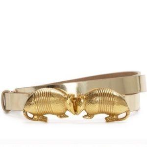 Kate Spade Armadillo Belt Gold Leather Adjustable